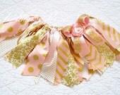 Birthday Outfit, Birthday tutu, 1st Birthday Outfit, Girls Birthday set, Gold Birthday Outfit, Pink gold tutu, fabric tutu