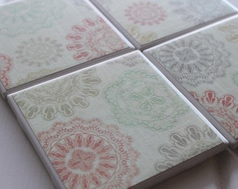 Old Fashioned Doily Coasters Four Piece Ceramic Tile Set