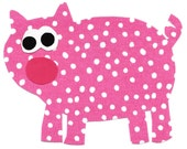 Pig iron on fabric applique DIY - large