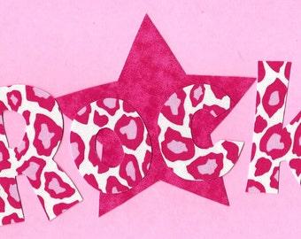 Rock star fabric iron on applique DIY