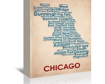 Chicago Contemporary Typography Word Map Ready-to-Hang Premium Gallery Wrap Canvas
