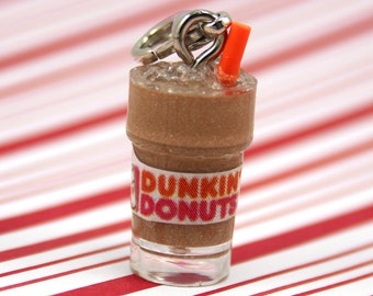 dunkin donuts charm kawaii polymer clay charms miniature food jewelry polymer clay food charm iced coffee charm donuts necklace coffee charm