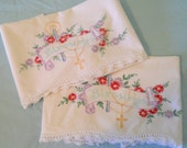 Pair of Vintage Embroidered Pillowcases, Floral and Christian Cross