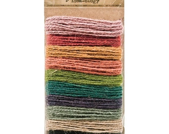 Tim Holtz Idea-ology Jute Twine for Packaging - 30 Yards, 3 Yards each 10 Colors of Natural String