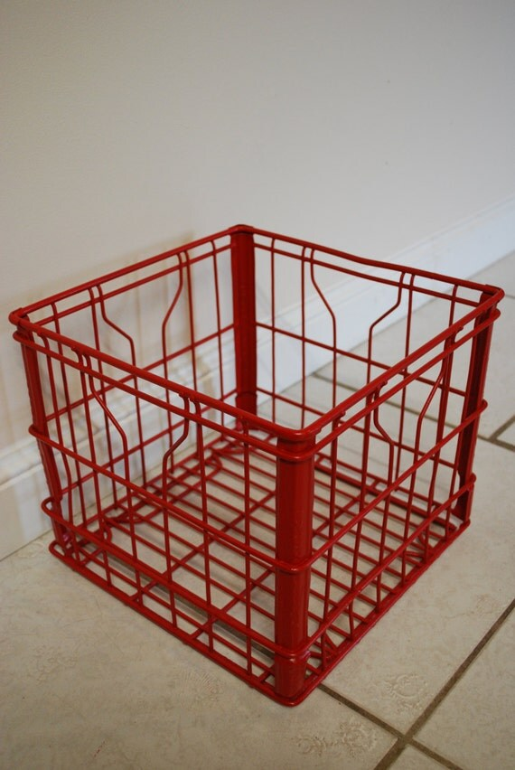 Vintage milk crate industrial decor milk crate storage for Decorating with milk crates