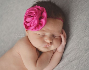 Rose satin flower on matching skinny headband/ newborn headband/ baby headband