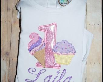 Ice Cream and Cupcake Embroidered Shirt