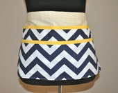 Chevron utility Apron Women's Vendor Apron, Navy Chevron Apron, Teacher apron.  Ready to ship.