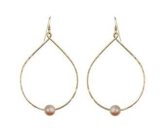 Pink Freshwater Pearl Teardrop Earring 14kt Gold Filled