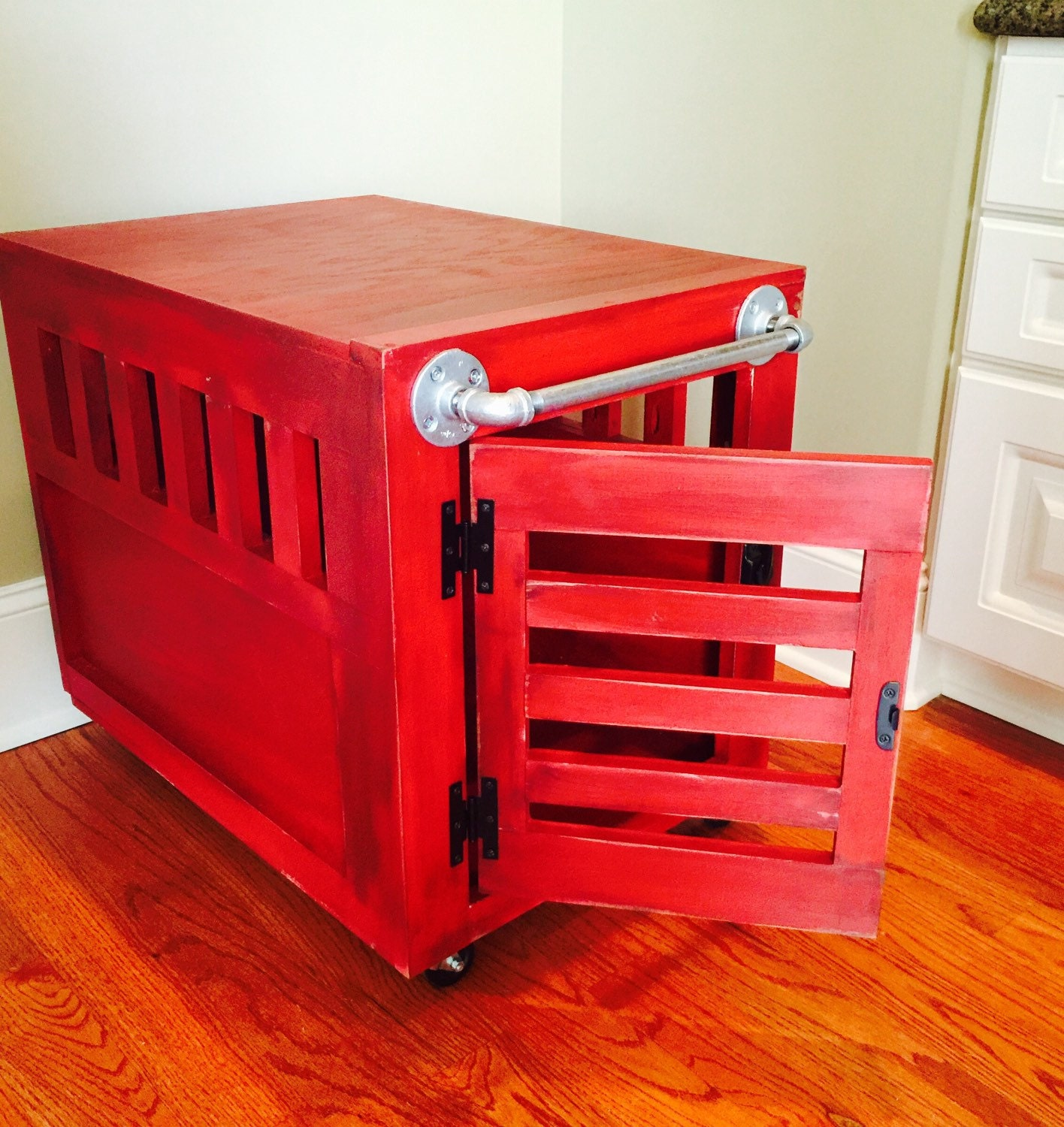 Red industrial pet crate dog or cat size medium by for Dog crates for medium sized dogs