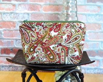 Green/Red Paisley Zipper Pouch