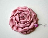 Set of 2 DUSTY ROSE Flowers - The Elizabeth Collection - Large Satin Ruffled Rolled Rossettes - U Pick Colors DIY Flower Headbands