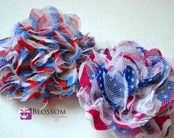 PATRIOTIC Flowers - The Charlotte Collection - Small Shabby Chiffon Lace Puff Flowers - DIY Headbands Red White Blue Flag Chevron Blossoms