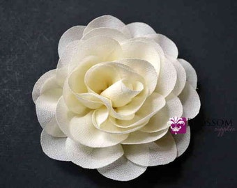 """IVORY Flowers - The Jane Collection - 3.5"""" Chiffon Petal Puff Flowers - DIY Flower Headband & Clip - Blossom Supplies Wholesale Bridal"""