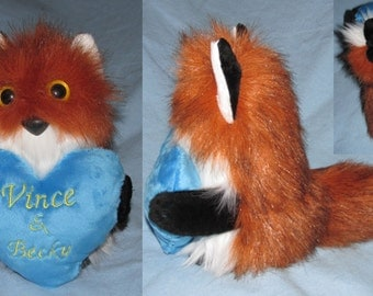 Customizabl Fuzzy Monster or Fuzzy Mosnter Animal holding a Personalized Heart