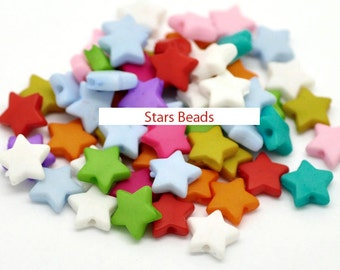 100 PCs Mixed Star Acrylic Spacer Beads 9x9mm