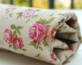 Pure Linen with Retro zakka Pink Rose, Zaka DIY Fabric, 1/2 yards (QT426)