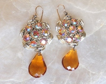 Reclaimed Earrings from Vintage Rhinestone Clip-ons  and Crystal Drops