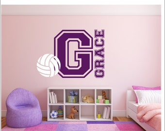 Bedroom Wall Decal Vinyl Wall Decals Sports Athletic Decal Volleyball