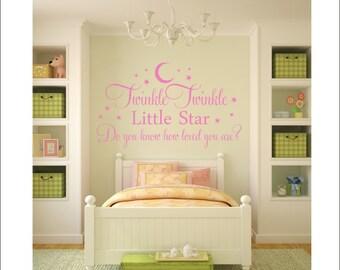 Twinkle Twinkle Wall Decal Little Star Wall Decal Vinyl Decal Loved Children Kids Baby Nursery Decal Bedroom Wall Decal Star Wall Decal