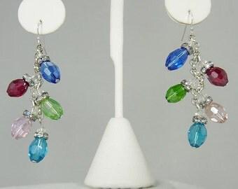 Crystal Yule Christmas Light Earrings