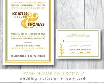 Farm House Wedding Invitation Collection | Southern Party Invitation | Printed or Printable by Darby Cards