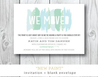 New Paint Moving Announcement | Moving or Open House Cookout or Trunk Show Party | Printable or Printed by Darby Cards