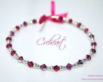 Handmade Memory wire bracelet Swarovski Crystal beads, Fuchsia - Best friend, Birthday Gift, Bohemian, Boho chic,Anniversary - Creheart