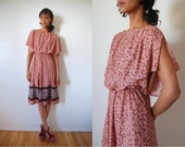 Vtg 70's Floral Print Flutter Sleeve Paisley Belted Retro Dress