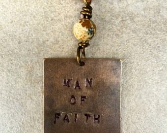 """Men's Tan Suede Cord Necklace with Hand Stamped Copper Tag """"MAN OF FAITH"""" and a Handcrafted Elephant Jasper Charm"""