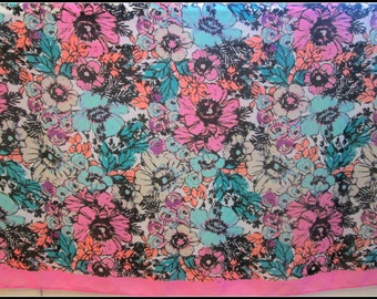 Sale, Vintage Scarf - Extra Large ~ Gorgeous Bold Florals In Bright Shades Of Pinks And Teals ~ 42 X 42 Inch Square
