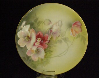 "Vintage Reinhold Schlegelmilch Display Dish 6.25"" Beautiful Hand Painted Rose Pattern RS Silesia Tillowitz, Germany Circa 1930s"