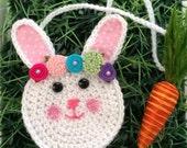Rebecca Rabbit purse, Easter Bunny crochet purse, toddler purse, crochet purse, animal purse, floral