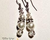"Wedding Earrings: Ivory Hued Swarovski Pearls coupled with Swarovski Elements ""Beautiful Bride!"""