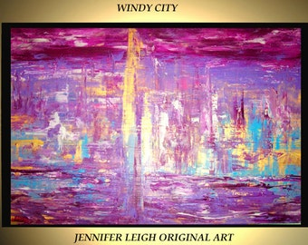 """Original Large Abstract Painting Modern Contemporary Canvas Art Purple Blue Gold Turquoise City 36x24"""" Palette Knife Texture Oil J.LEIGH"""