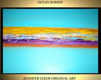 Original Large Abstract Painting Modern Acrylic Oil Painting Canvas Art Blue Yellow Purple Beach Ocean 36x24 Palette Knife Textured  J.LEIGH