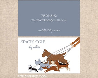 dog walker business cards - full color both sides - FREE UPS ground shipping