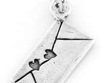 Sterling Silver Love Letter Envelope Charm Pendant (One Sided Charm)
