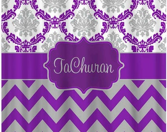 Custom Damask Chevron Nautical Shower Curtain Personalized