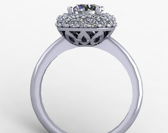 Moissanite round engagement ring, with diamond halo in 14k white gold, style 58WDM