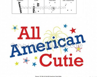 Instant Download - 4th of July Embroidery Design - All American Cutie digitized embroidery design 4x4, 5x7, 6x10 hoops