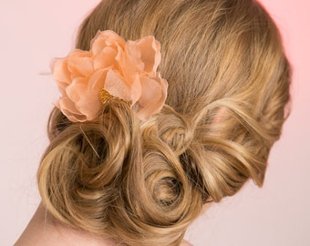 Wedding Hair Accessory, Bridal Flower, Silk Organza Flower, Peach Silk Organza, Bridal Flower Comb