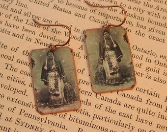 Black History earrings Native American inspired jewelry Black Indians mixed media jewelry