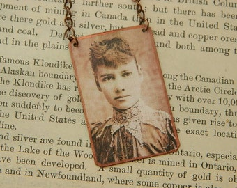 Nellie Bly necklace Womens History Journalist mixed media jewelry