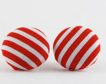 Red and White Striped Button Earrings