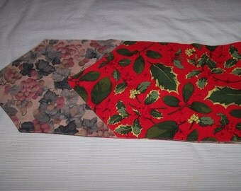 Double duty table runner. Grapes on one side Christmas on the other side