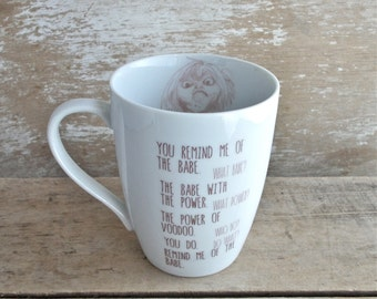 Labyrinth Mug, You Remind Me of the Babe, Tall Large 14 oz Coffee Mug, Goblins, David Bowie, Jim Henson, Movie Fan Art, Ready to Ship