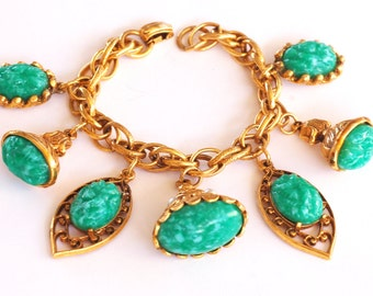 Ornate Jade Fob Chunky Charm Bracelet