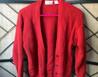 Red knit cardigan small / medium s/m
