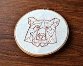 embroidery pattern geometric bear beginner modern hand embroidery
